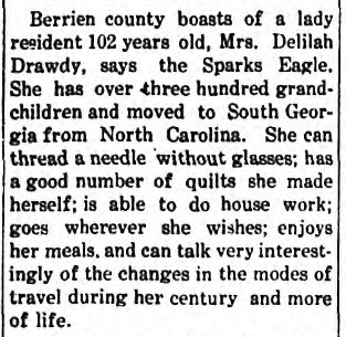 Berrien News Item, Feb 28, 1913 - Delilah Drawdy