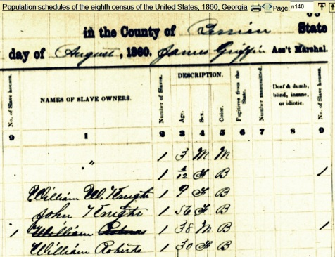 1860 Slave Schedule, Berrien County, GA.