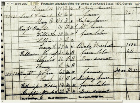 1870 census enumeration of the household of Mary Elizabeth Carroll and William Lamb, Berrien County, GA.