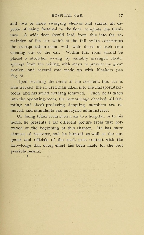 1899 Hospital Car. Railway Surgery: A Handbook on the Management of Injuries.