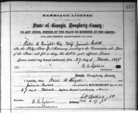 Marriage Certificate of Jimmie Gullett and Walter Howard Knight