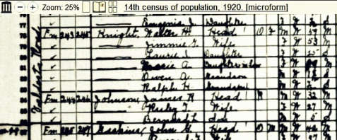 1920 enumeration of Jimmie Gullett and Walter Howard Knight, 1144 GMD Rays Mill District.