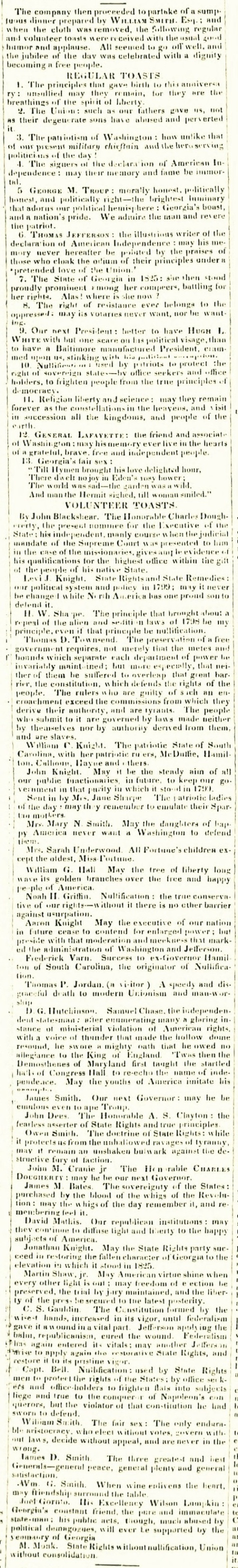 1835 Independence Day toasts at Franklinville, GA. The Southern Recorder, August 4, 1835.