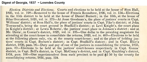 Digest of Georgia, 1837. Establishment of election districts in Lowndes County, GA