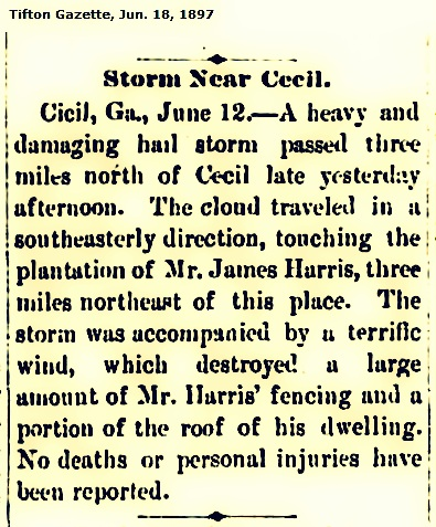 James Harris' plantation hit by storm, 1897.
