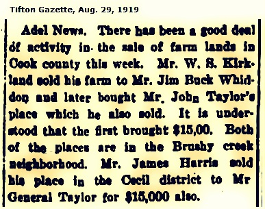 James Harris sells out in Cecil District, Georgia, 1919.