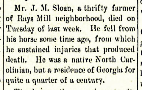 James Murray Sloan died after being thrown from a horse.