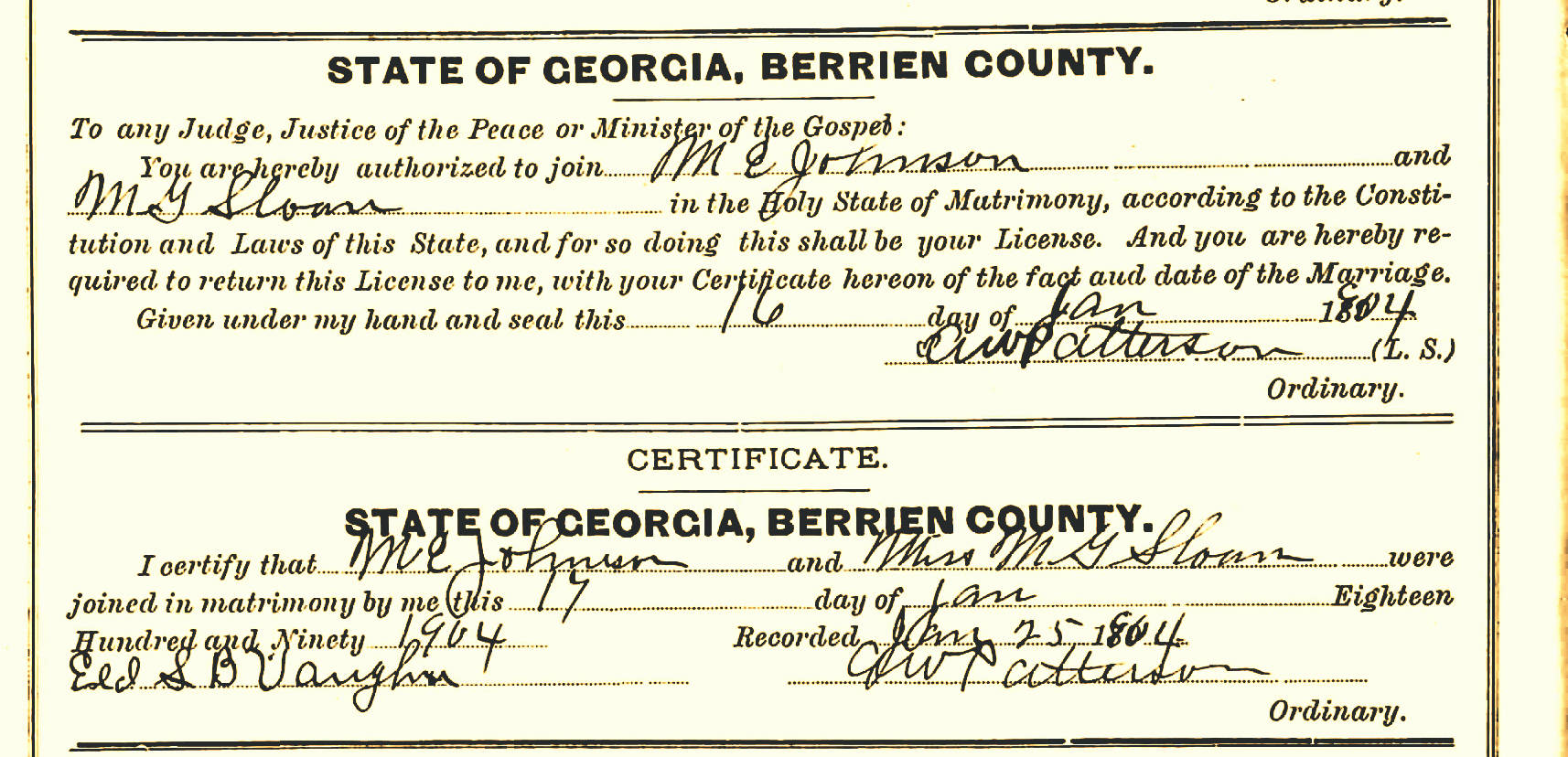 Lanier county ga ray city history blog marriage certificate of merritt e johnson and minnie gordon sloan january 17 1904 aiddatafo Images