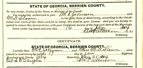 Marriage certificate of Merritt E. Johnson and Minnie Gordon Sloan, January 17, 1904, Berrien County, GA.