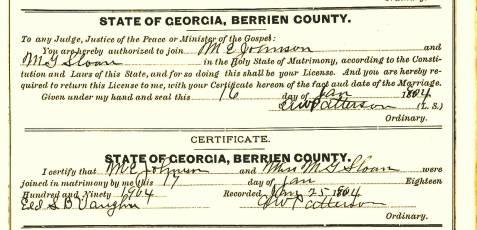 Marriage certificate of Merritt E. Johnson and Minnie Gordon Sloan, January 17, 1904, Berrien County, GA.