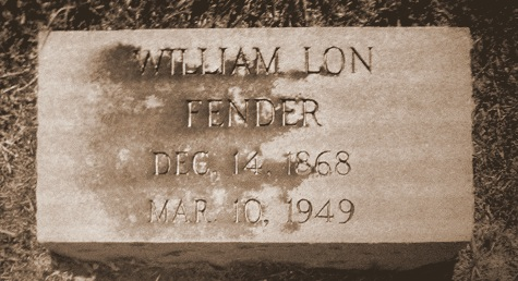 Grave of William Lon Fender, Sunset Cemetery,  Valdosta, GA