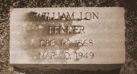Grave of William Lon Fender, Sunset Cemetery,  Valdosta, GA