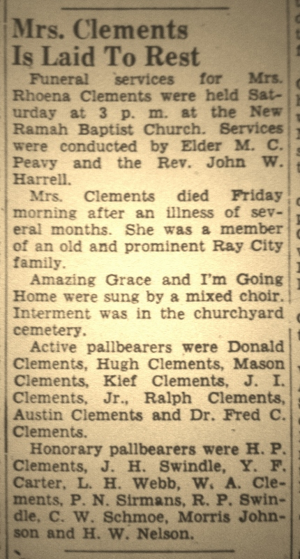 Funeral of Roena Patten Clements was held Saturday, February 3, 1951 at New Ramah Baptist Church, Ray City, GA