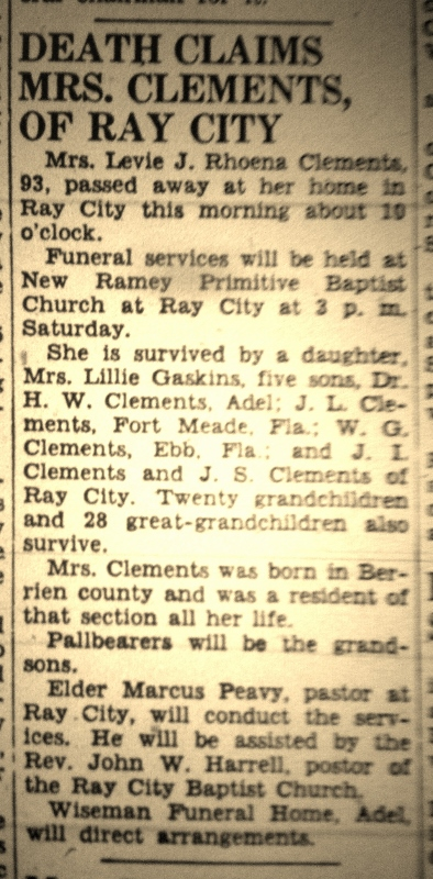 Obituary of Roena Patten Clements.