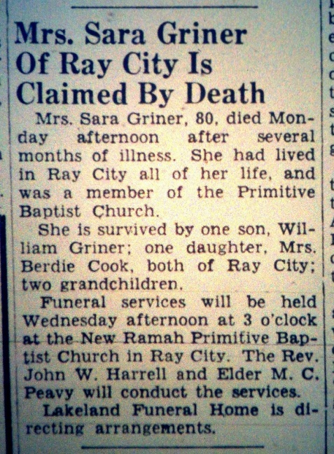 Obituary of Sarah Griner, (1871-1951) Ray City, GA