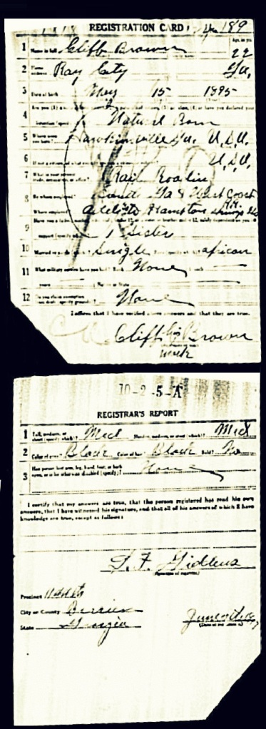1917 Draft Registration of Cliff Brown, Ray City, GA