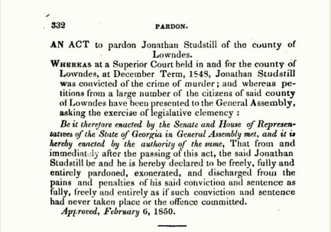 Pardon of Jonathan Studstill, Acts of the State of Georgia 1849-50.