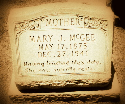 Grave of Mary Jane McGee (1875-1941), Beaver Dam Cemetery, Ray City, GA.