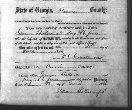 Marriage certificate of Green Bullard and Mary A. E. Knight, March 25, 1866, Berrien County, GA.