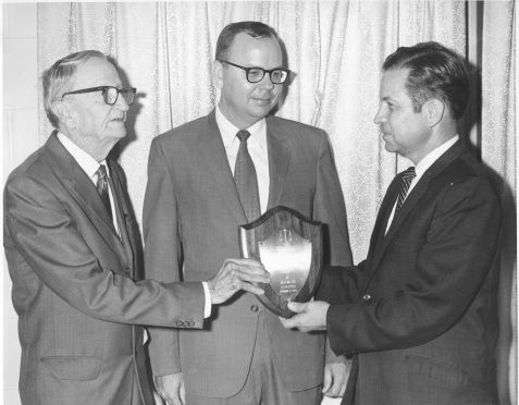 (L to R)  ER Smith, Jack Knight, and Vickers Nugent at a function of the Alapaha Bar Association, 1970.