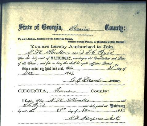 Marriage certificate of Matthew Hodge Albritton and Susan Catherine Byrd.