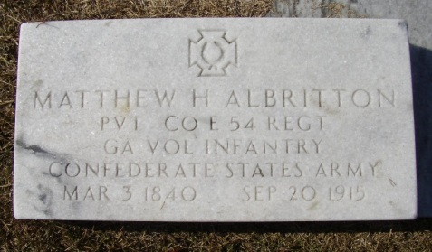 Grave of Matthew Hodge Albritton, Pleasant Cemetery, Berrien County, GA. Image source: Charles T. Zeigler