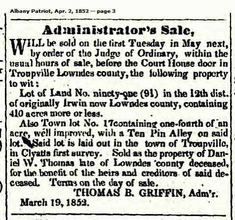 1852 administration of the estate of Daniel W. Thomas, Troupville, GA.