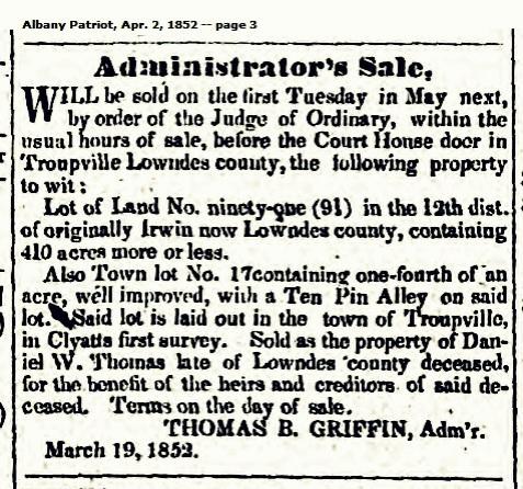 1852 administration of the estate of Daniel W. Thomas, Troupville, GA.