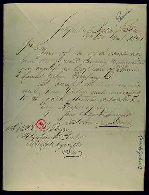 John C. Lamb to Adjutant General Henry Constantine Wayne, Oct 24, 1861 letter accepting commission as Captain of the Berrien Minute Men, Company B.