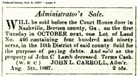 Administrator's Sale for the estate of John C. Lamb, 1867.