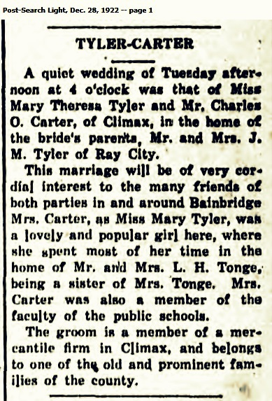 1922 marriage of Mary Theresa Tyler and Charles Oscar Carter.