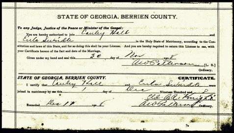 1908 Marriage license of Lawrence Cauley Hall and Eula Bell Swindle