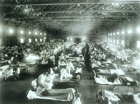 "1918 military hospital ward filled with ""Spanish Flu"" cases."