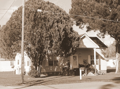Home of Reid Hearn Cox and Hazel Hall Cox, Jones Street, Ray City, GA. The Coxes had this home built prior to 1940. Hazel's father, Lawrence Cauley Hall, resided with the Coxes in the 1940s.