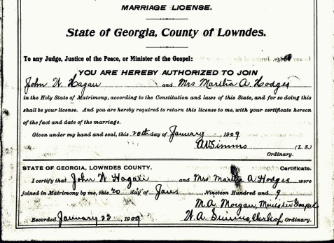 1909 marriage license for John W. Hagan and Mrs. Martha D. Hodges, Lowndes County, GA