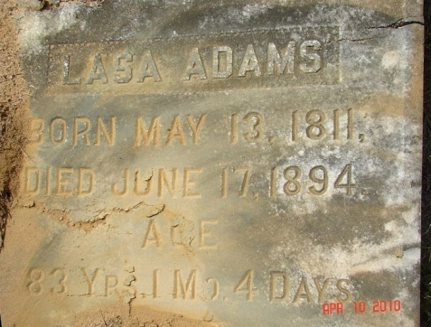 Grave of Lasa Adams, Bethel Primitive Baptist Church Cemetery, Brooks County, GA