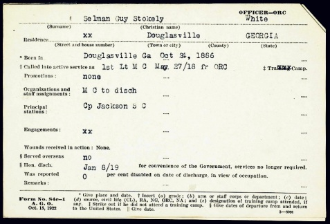 WWI service record of Guy S. Selman
