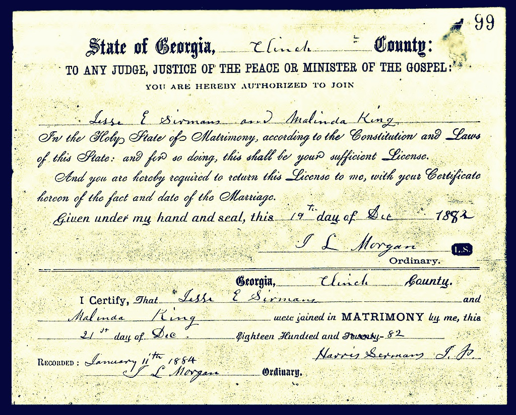 March 2014 ray city history blog december 21 1882 marriage certificate of jesse e sirmans and malinda king clinch aiddatafo Images