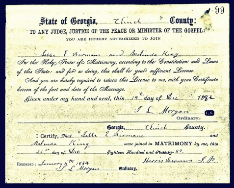 December 21, 1882 marriage certificate of Jesse E. Sirmans and Malinda King, Clinch County, GA.