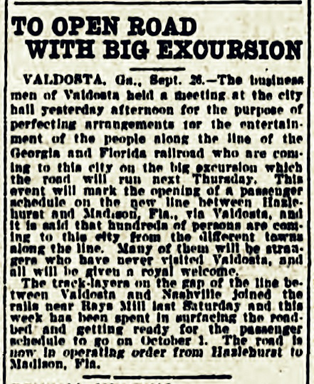 Georgia and Florida railroad prepared to open. Atlanta Georgian and News, Sep. 26, 1908