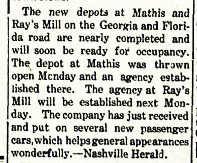 Train depot at Rays Mill, GA was ready to open November 9, 1908.