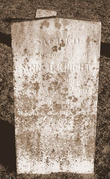 Grave of Ann D. Knight, Union Church Cemetery, Lanier County, GA
