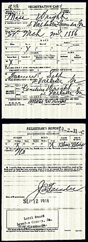 Moses Wright 1918 draft registration., Lowndes County, GA