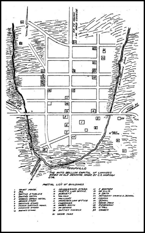 Map of Old Troupville, GA with Notes on the Residents