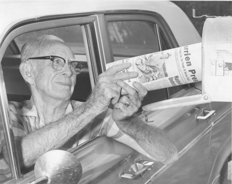 Jimmy Grissett, of Ray City, GA, delivering mail,  June 1970.  Image courtesy of www.berriencountyga.com