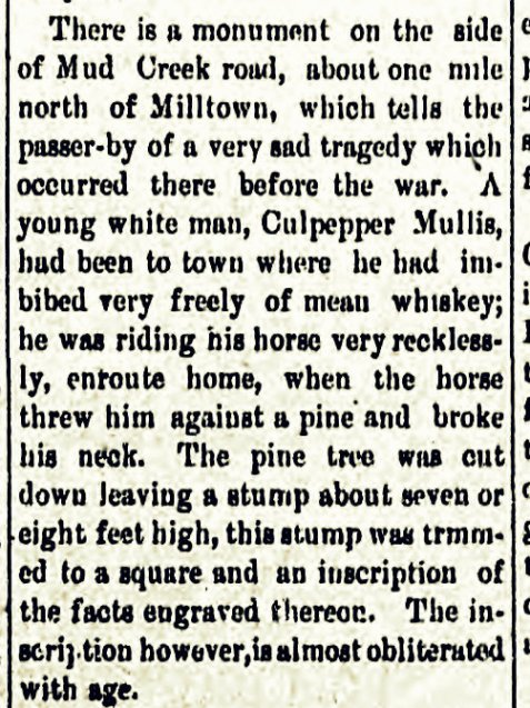 Old monument to Culpepper Mullis. Tifton Gazette, Dec 7, 1864.