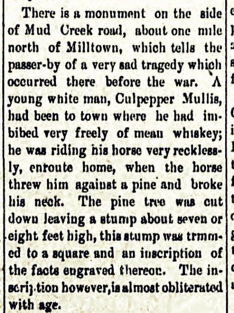 Old monument to Culpepper Mullis. Tifton Gazette, Dec 7, 1864.