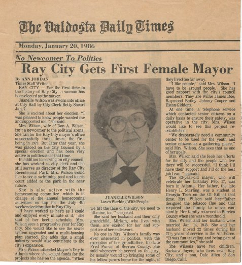 Juanelle Wilson was elected May of Ray City, GA, 1986