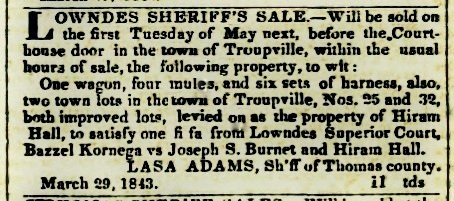 Lasa Adams Sheriff's Sale, 1842