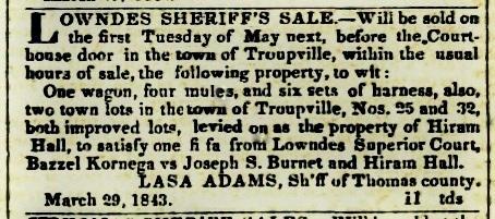 Lasa Adams Sheriff's Sale, 1842